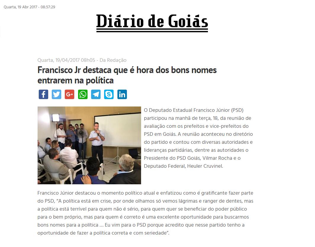 Diário de Goiás - 19 de abril - Reunião com prefeitos