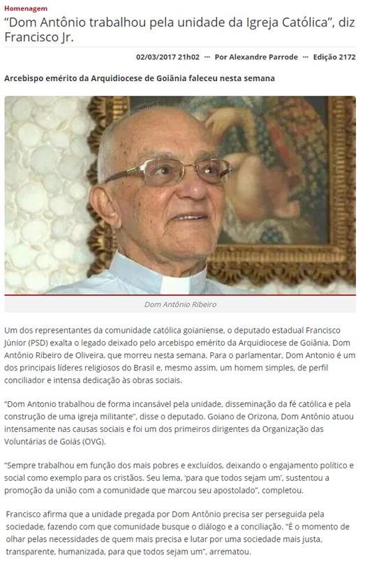 Jornal Opção - 2 de março - Dom Antônio
