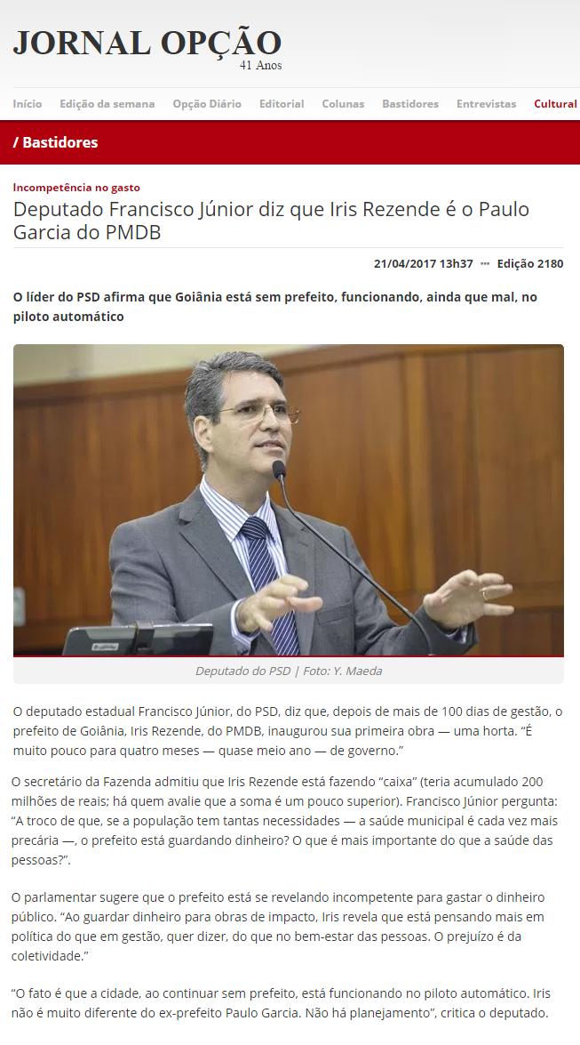 Jornal Opção - 21 de abril - Iris Rezende