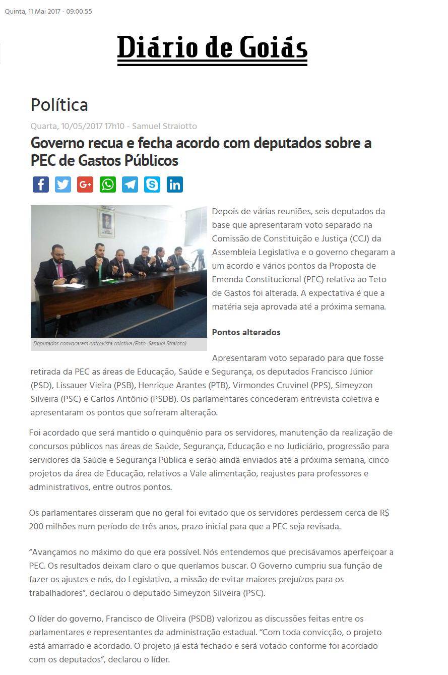 Diário de Goiás - 11 de maio - PEC dos Gastos