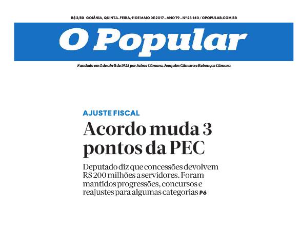 O Popular - 11 de maio - PEC dos gastos capa